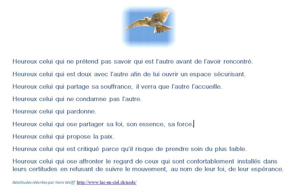 Béatitudes réécrites par Yann Wolff  http://www.lac-en-ciel.ch/nods/